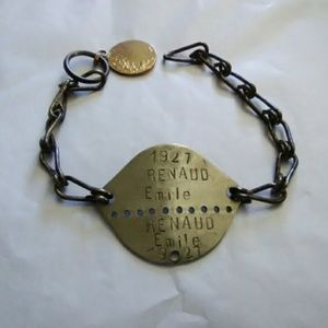 ANTIQUE ID BRACELET 1927 SOLDIER FRENCH EMILE R.